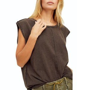FREE PEOPLE Kasee Muscle Tee In Raven Feather